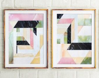 Set Of 2 Prints,Abstract Print,Print Sets,Blush Pink,Marble Art,Office Art Prints,Wall Art,Pink,Prints,Contemporary Art,Geometric,Wall Decor