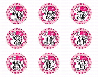 Alphabet Nurse Monogram Pink - Button Size Images 1.837 Inch (1.5 inch Button) Digital Collage Sheet for Badges n Buttons