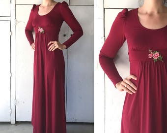 70s XS maroon maxi dress | vintage womens long sleeve dress | 70s empire waist dress