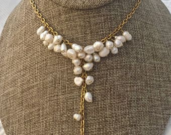Cream Freshwater Pearl Cluster Gold Necklace