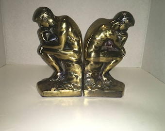 Bronze Thinking Man Bookends from 1928