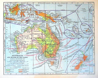 1920 Map of Australia and the Islands of the Pacific - Political and Economic Map - Vintage World Geography Book Map