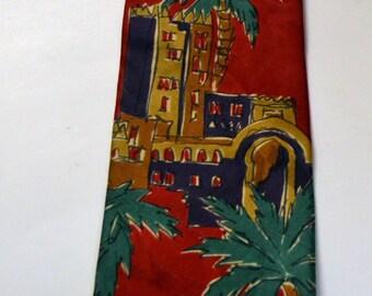 Vintage Errenno Tie Milano 100% Italin Silk Woven Novelty Tropical  Pattern Design Mens Dress Neckwear Made USA Mint Condition