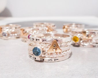 Stacking Birthstone and 14k Gold Alphabet Initial Ring  //  Choose Your Own Birthstone And Initial