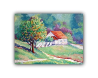 Original Oil, FRIENDLY BREEZE, Original Oil Painting, laundry, landscape, trees, house, clothesline, country, signed by the artist