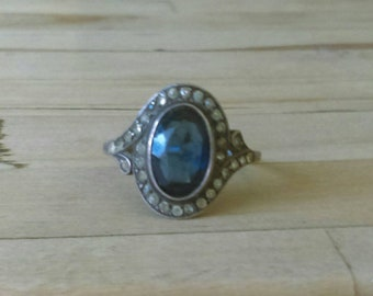 Antique vintage art deco 925 sterling silver blue sapphire and clear stone ring size O