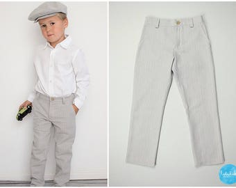 Baby boy Grey tweed kids trousers chino pants suit Taufanzug ring carrier kids suit long trousers