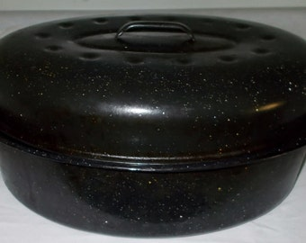 Blue Graniteware Roaster Vintage Enamelware Roasting Pan Large Speckled Enamel Oven Farmhouse Cookware Pan