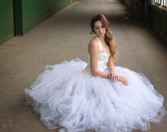 White Wedding Dress  - Tulle Dress - Full Skirt - Gown - Bridesmaid - White Dress - White Tulle Skirt - White Dress - Tutu Dress -Tulle Gown