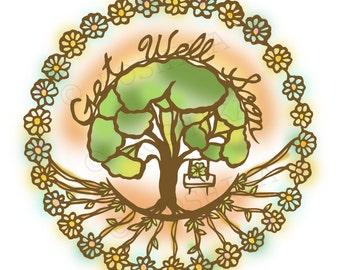 Get Well Soon, prints of Kiri-e (hand-cut paper art), set of 6 greeting cards