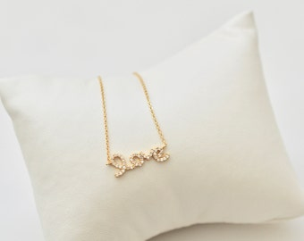 Love Necklace, Gold Filled Sterling Silver Love Necklace Embellished with Cubic Zirconia