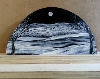 Black n white acrylic painting