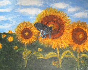 Sunflowers and Swallowtail Butterfly