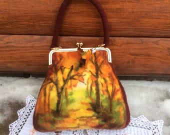 Autumn Forest Bag, Felt Bag, Felted Handbag, Felted Bag, , Felt Bags, Unique Bag, Handbag, Art Bag Wet Felted Bag, Felt Bag