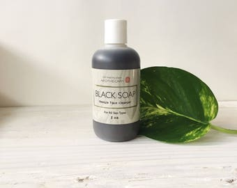 African BLACK SOAP, Natural Skin Care, BLiquid Black Soap, Face Cleanser, Oily Skin, Acne, Combination Skin Care, 8oz