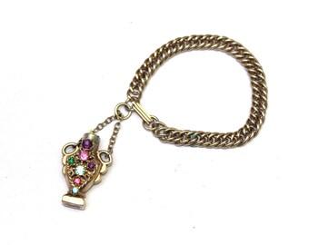 1970's Vintage Perfume Bracelet Vile Gold Tone with Colorful Accents