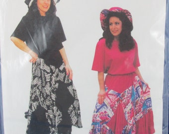 skirt  hat sewing pattern Misses Sewing Pattern, Gypsy Skirt Top & Hat, Birch Street Clothing Sizes XS to XXL