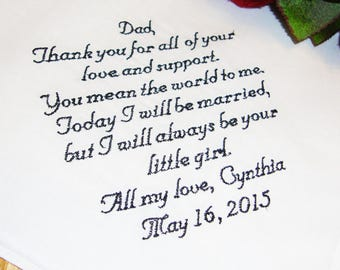 Free Gift Box Father of the Bride Handkerchief, You Mean The World To Me Wedding Day Keepsake - Thread Born Memories