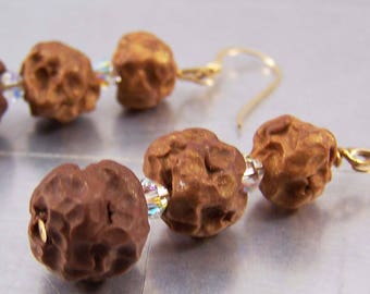Gold Ombre Lava Polymer Clay Earrings 14k Gold Filled