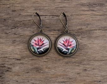 Bird of paradise flower earrings, Boho earrings Tropical flower jewelry, Dangle earrings, Exotic flowers earrings Brass hook earrings TJ 074