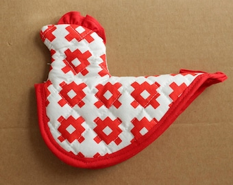 Chicken Potholder Sewing Pattern - Vintage Inspired Hotpad