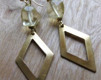 brass diamond cutout and lemon quartz earrings