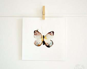 """Watercolour Butterfly Painting PRINT - Signed Watercolour Giclee Print from Original Insect Painting - Gift - Nursery Art - 5x5"""" or 5x7"""""""