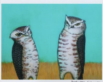 Two Vigilant Burrowing Owls bird art PRINT no. 47 c-print 8 x 10