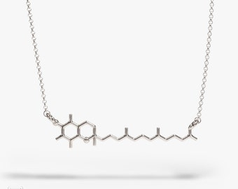 science jewelry: tocopherol silver necklace - 3D printed vitamin E pendant - wearable chemical compound - PhD
