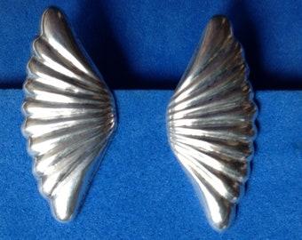 Vintage, large, lightweight fan shaped clip on silver earrings, signed Alpaca