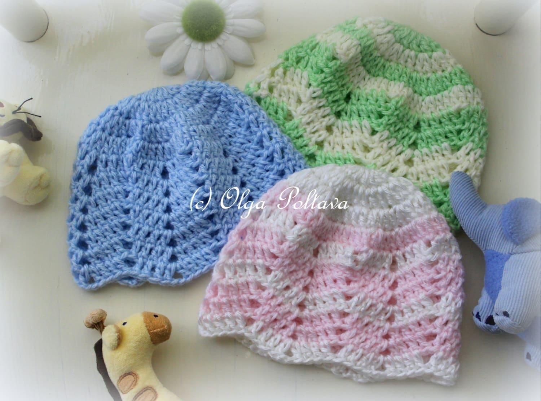 Ripple Baby Beanie Crochet Pattern, Baby Girl and Baby Boy Hat ...