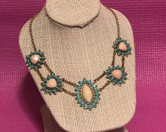 Blue and Cream Statement Necklace