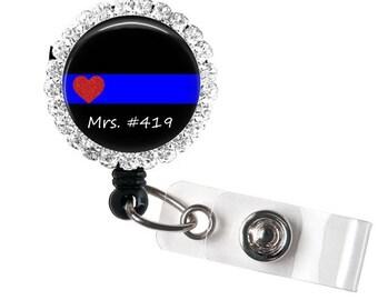 Thin Blue Line Badge Reel - Thin Blue Line ID Badge - Badge Reels - Police Badge Reel - Police Support Badge Reel - Thin Blue Line
