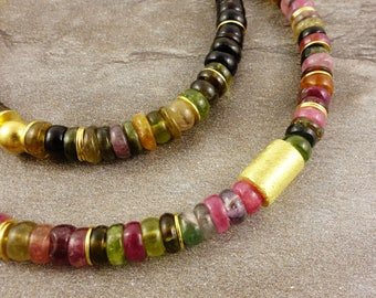 Tourmaline necklace, sterling silver, gold plated, gemstone necklace, necklace multicolor tourmaline, tourmaline, tourmaline, purple, pink, green, gold, gift