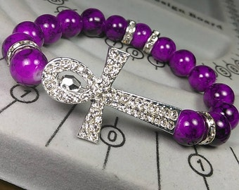Silver Ankh Charm with Amethyst Marble Bracelet