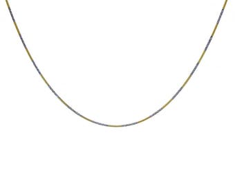 Twisted Snake Link Diamond Cut Chain Necklace 18K Two Tone Gold Over Silver