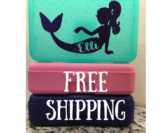 Free Shipping Personalized Mermaid School Box -Personalized Pencil Box/Art Supply Box/storage box - Most Popular Back to School Gift