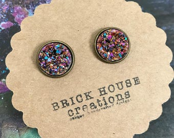 warm sparkle druzy earrings 12mm