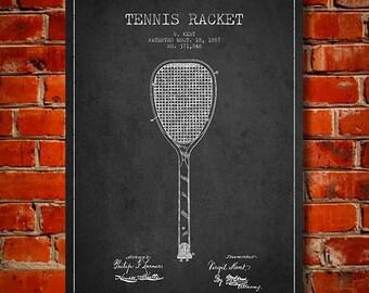 1887 Tennis Racket Patent, Canvas Print,  Wall Art, Home Decor, Gift Idea