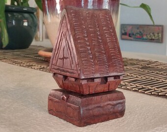 """Vintage, hand carved, wood """"MEETING HOUSE"""" from the South Pacific Islands of  Micronesia."""