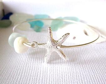 Sea Glass Bracelet Starfish Bangle Sea Glass Bangle Bracelet Starfish Beach Puka Shell
