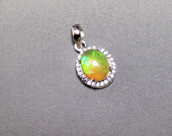 Ethiopian Natural Fire Opal Halo White Zircon Sterling Silver Pendant.