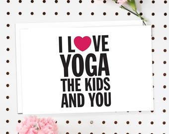 4-Pack of Flat Notecards - Stationery With Envelopes - I Love Yoga, The Kids And You