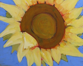 "Original Sunflower Painting . ""Sunflower Blue"" 20x16 in."
