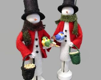 Snowman Christmas Ornament, Snowman and Bird, Clothespin Ornament, Peg Doll, Ornament Exchange, Secret Santa, for Snowman Collector