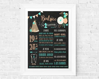 First birthday chalkboard sign, 1 year old baby memories, 1st Birthday Sign Blackboard one year old, '' Tipi teepee flowers girl ''