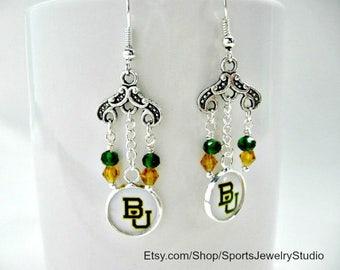 Baylor University, Baylor University Jewelry, Baylor University Earrings, Baylor Accessories, Baylor Bears, College Girl Gift, BU Bears, BU