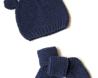 Cotton merino Set of  Baby hat and Booties , sizes: Preemie up to 12 m. Dark blue baby hat. Bear baby hat.