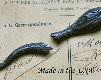 Snake Head and Tail, Brass, Black Satin Finish - Jewelry Supplies by Calliopes Attic