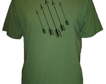 Mens Arrow Organic Shirt - Mens T Shirt - Mens Organic TShirt - Gift Friendly - Hand Screen Printed, Bamboo